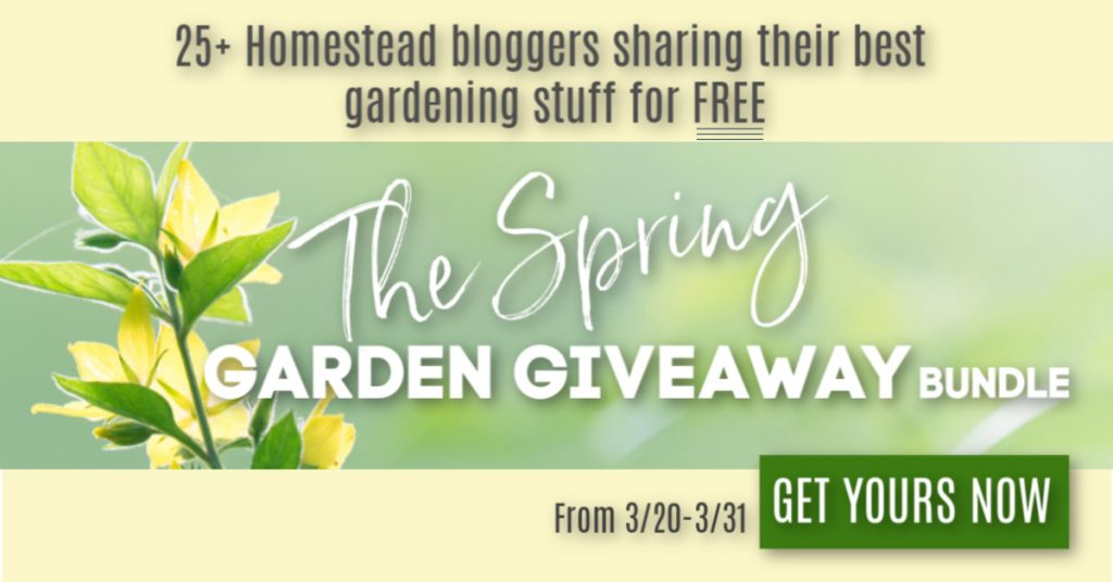 The Spring Garden Giveaway starts on March 20, 2019. Don;t miss these free resources from 25+ homestead bloggers